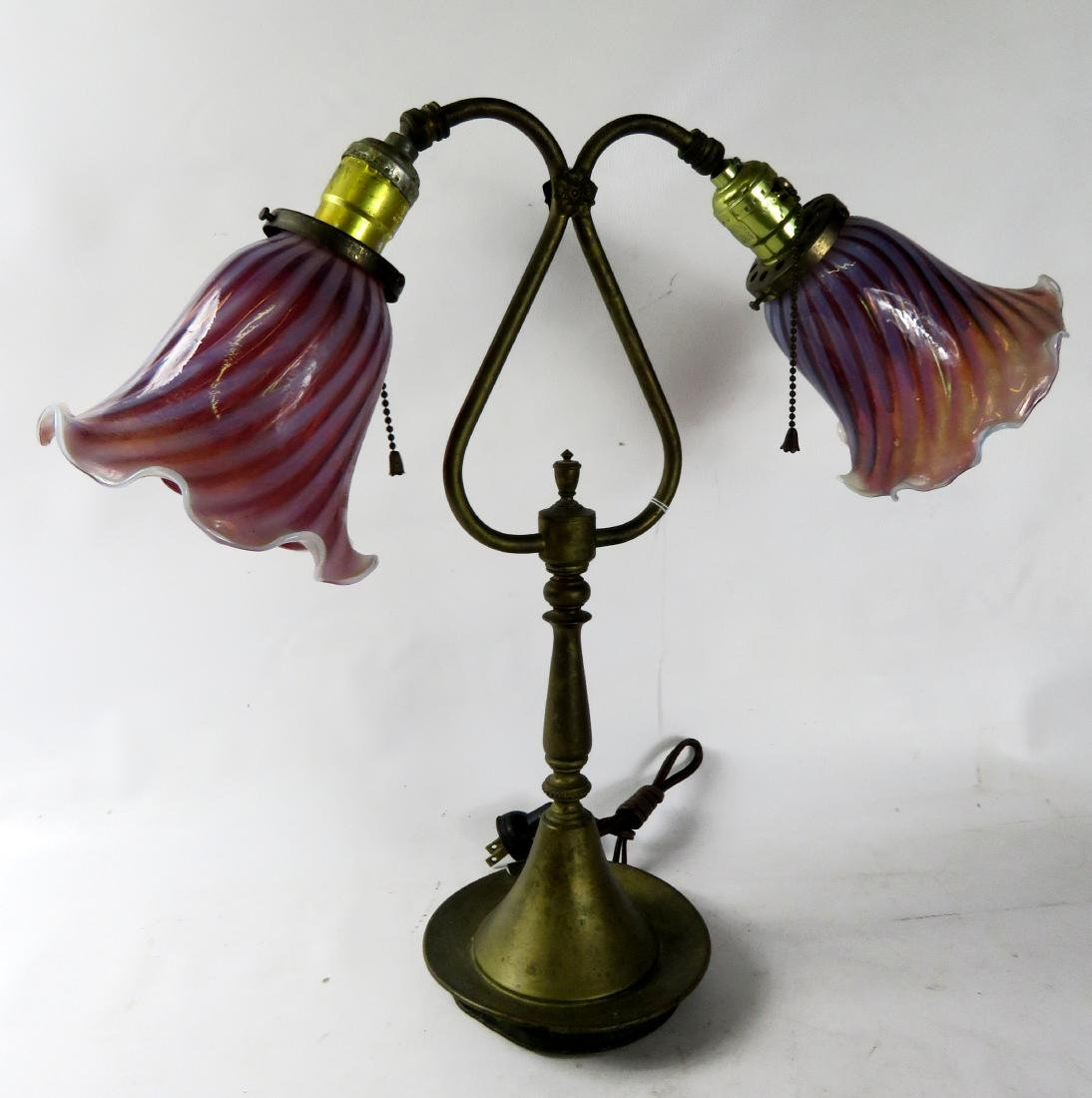 PAIR BRASS DOUBLE-ARM LAMPS WITH CRANBERRY OPALESCENT