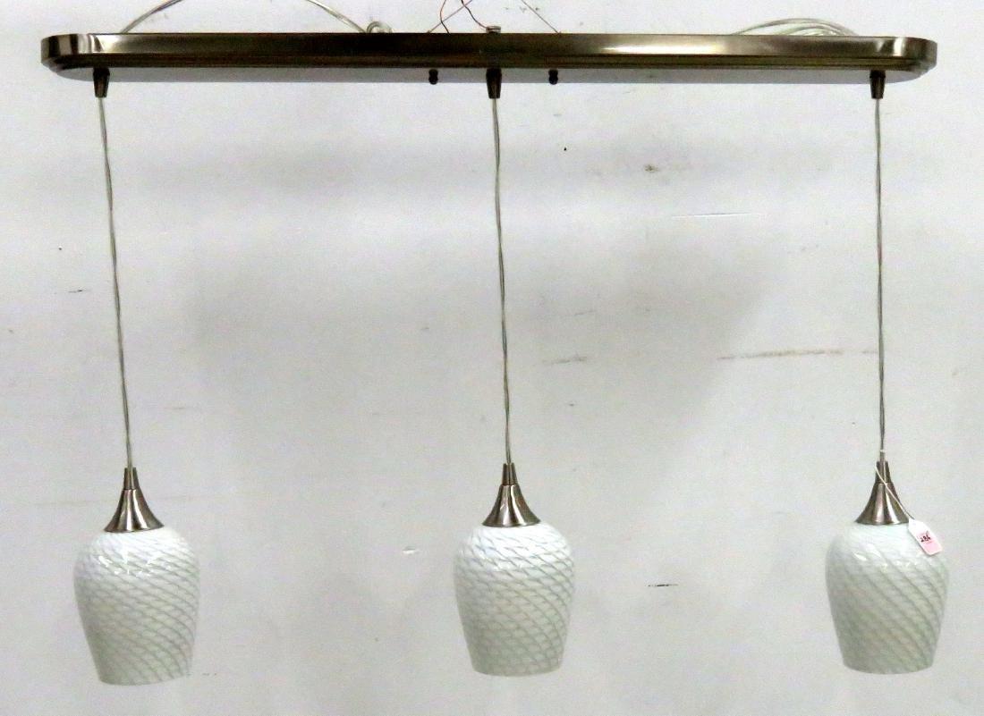 DESIGNER MODERN STAINLESS AND ART GLASS PENDANT LIGHT