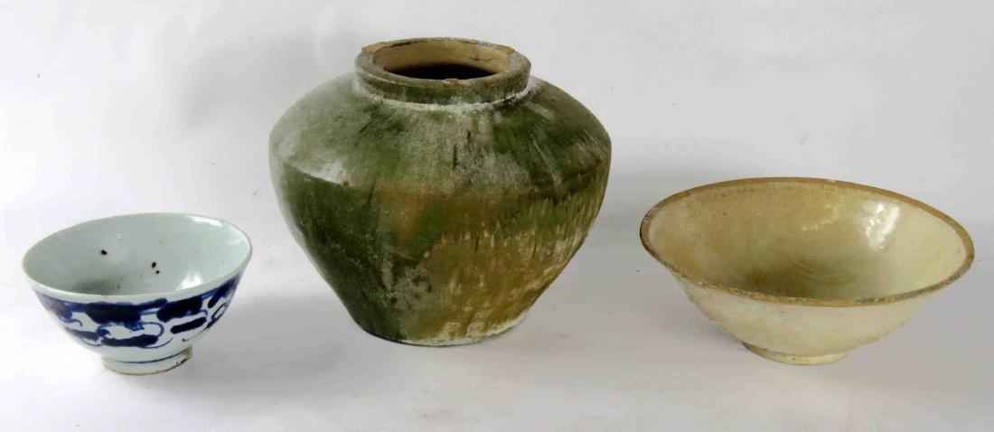 LOT (3) INCLUDING CHINESE GREEN GLAZE POTTERY JAR, HAN,