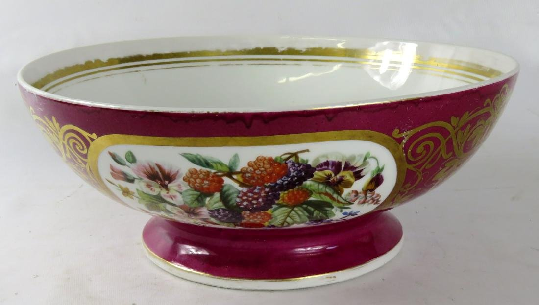 OLD PARIS HAND DECORATED MAROON GLAZED PORCELAIN PUNCH
