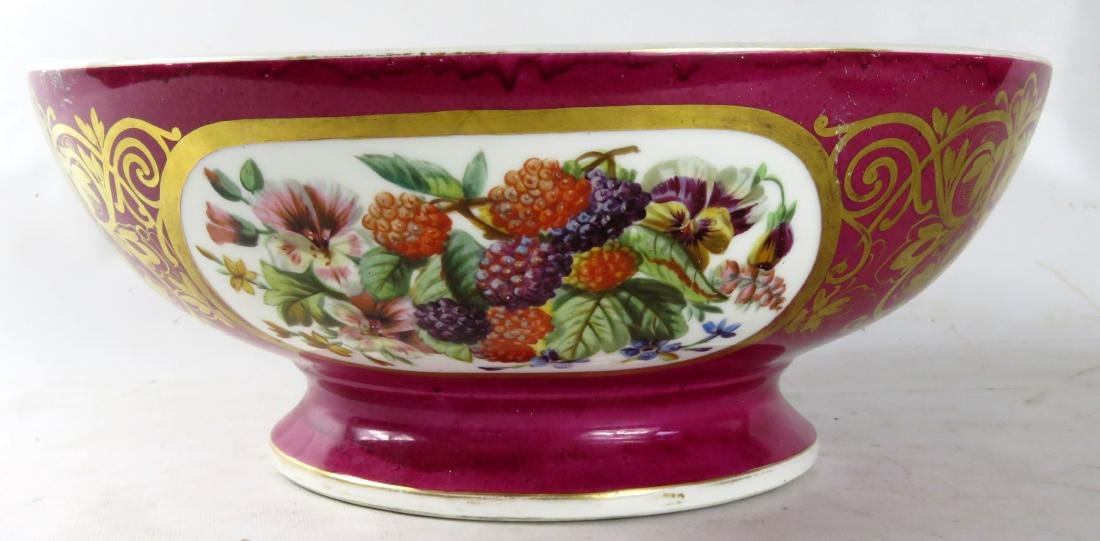OLD PARIS HAND DECORATED MAROON GLAZED PORCELAIN PUNCH - 2