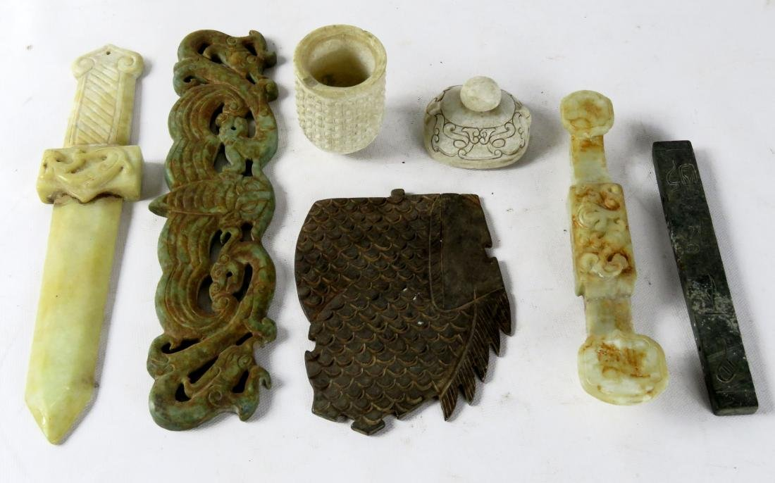 LOT CHINESE ARCHAIC STYLE CARVED HARDSTONE RITUAL