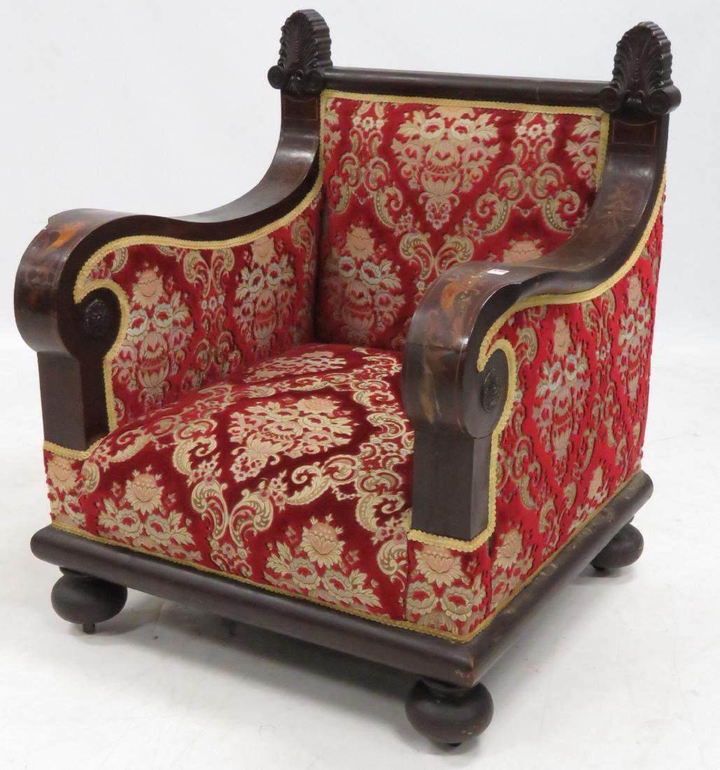CONTINENTAL CARVED/INLAID MAHOGANY ARMCHAIR, 19TH