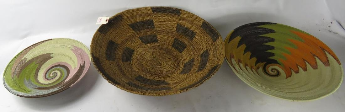 LOT (3) ASSORTED AFRICAN/TRIBAL BASKETS. DIAMETER 12