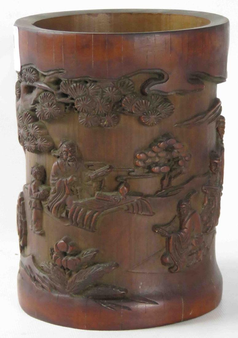 """CHINESE CARVED BAMBOO BRUSH POT. HEIGHT 6 1/2"""""""