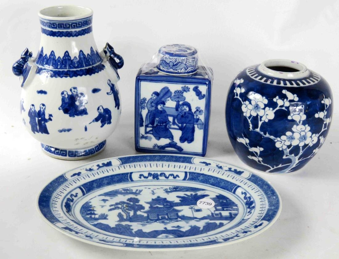 LOT (4) ASSORTED CHINESE BLUE AND WHITE DECORATED