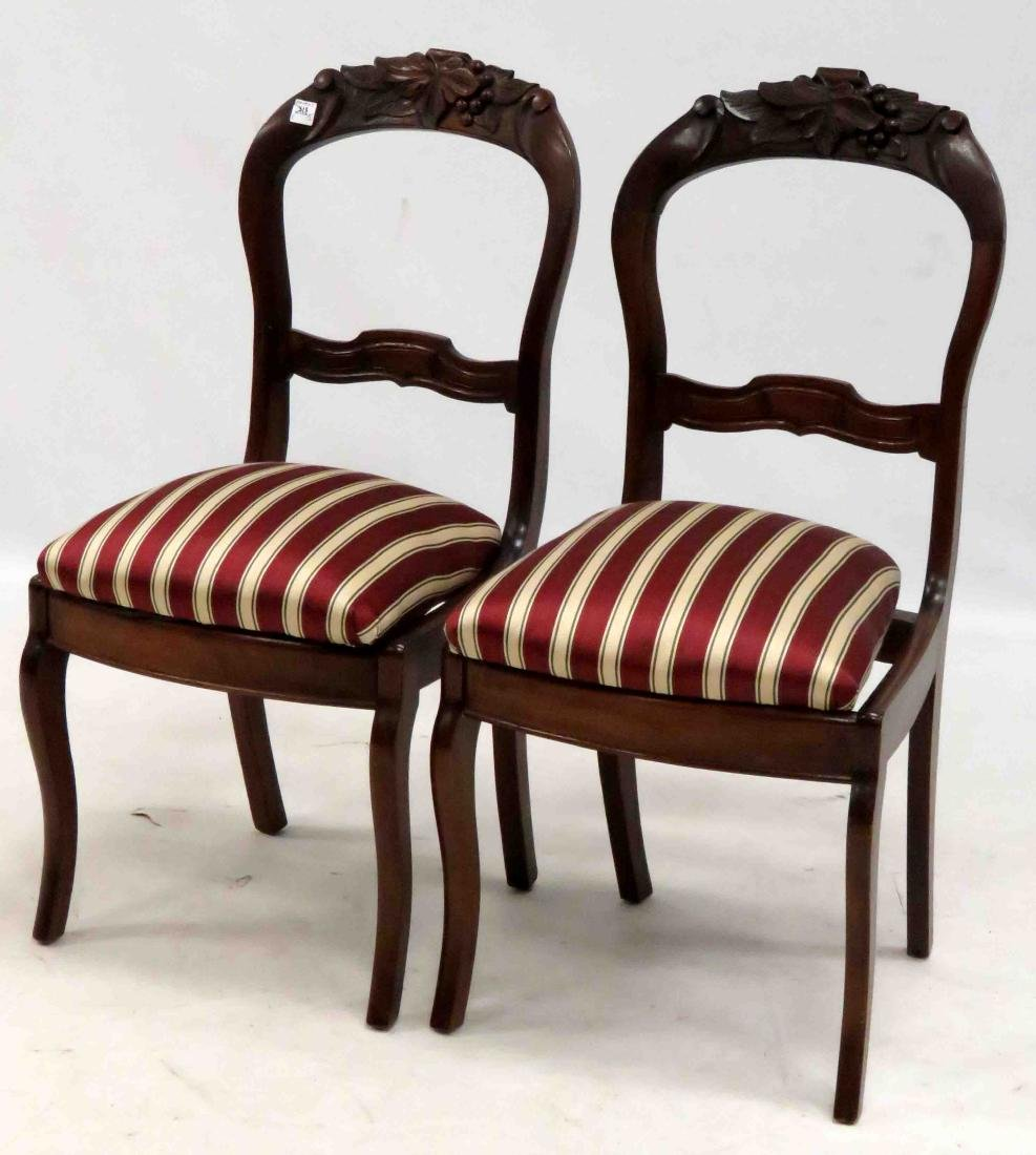 VICTORIAN CARVED WALNUT SIDE CHAIRS