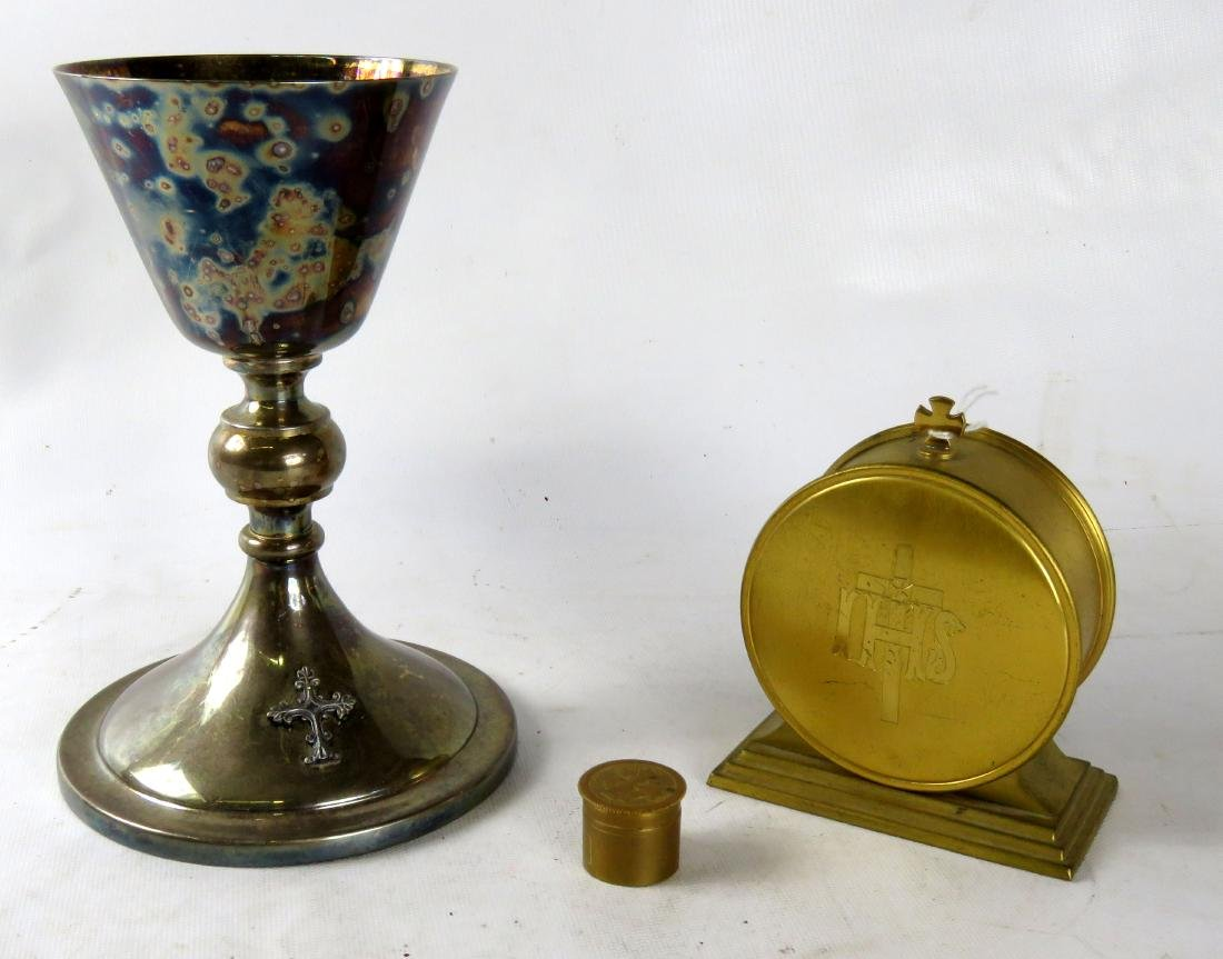 "LOT (3) INCLUDING GILT METAL LUNETTE, HEIGHT 4 3/4"";"