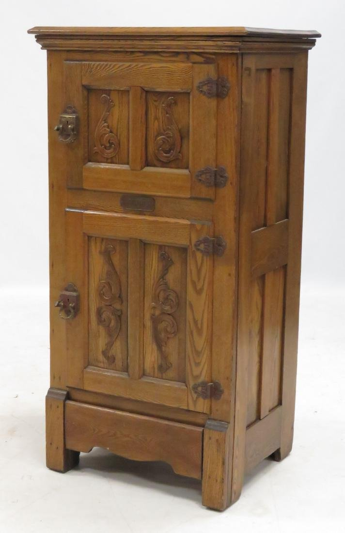 """ANTIQUE """"MONARCH"""" CARVED OAK ICE BOX. HEIGHT 48""""; WIDTH"""