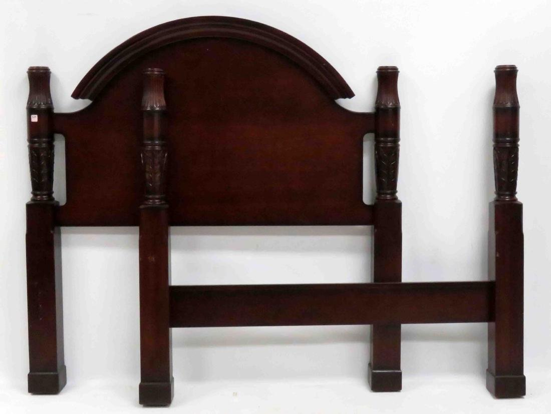 SHERATON STYLE CARVED MAHOGANY 4-POSTER BED WITH