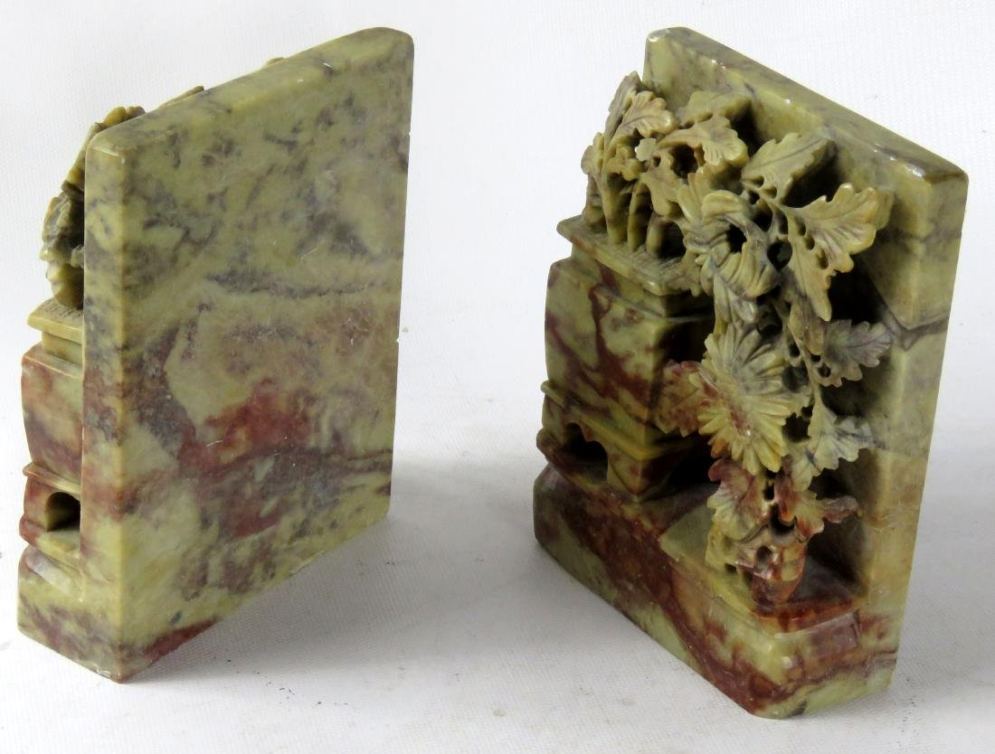 """PAIR CHINESE SOAPSTONE BOOKENDS. HEIGHT 5 1/2""""; WIDTH 4 - 2"""