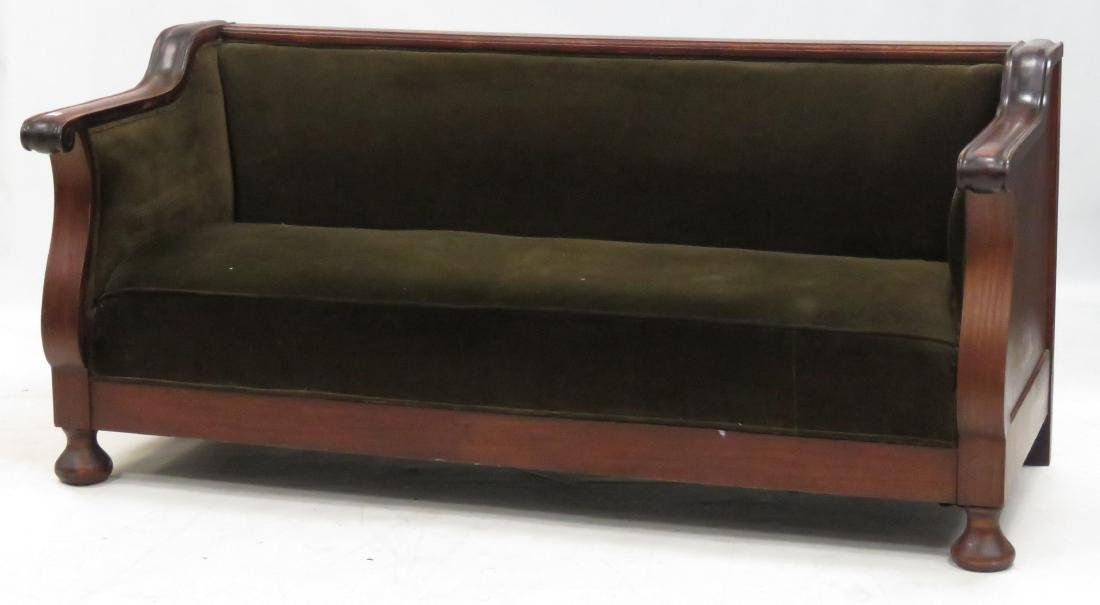 """EMPIRE STYLE CARVED MAPLE SOFA. LENGTH 74"""""""