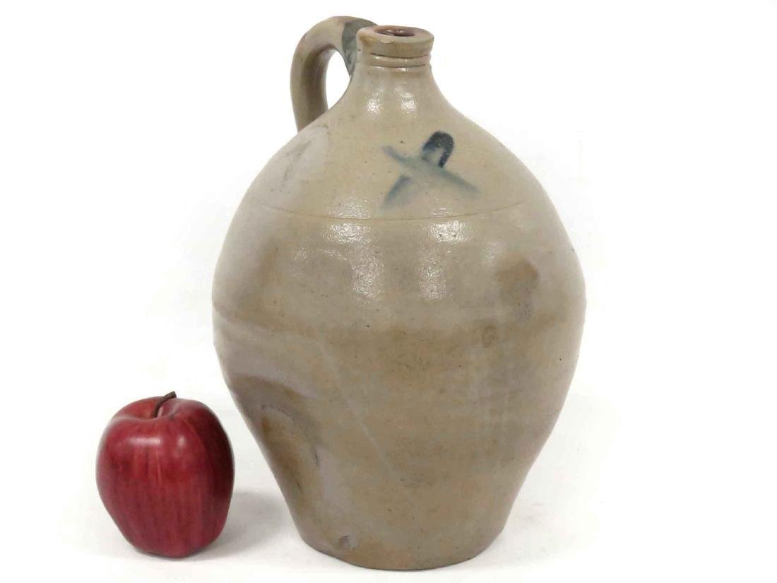 EARLY ALBANY OVOID STONEWARE JUG, UNSIGNED, 19TH