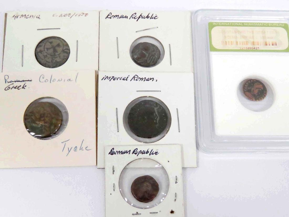 LOT (6) ANCIENT BRONZE COINS INCLUDING GREEK, ROMAN,