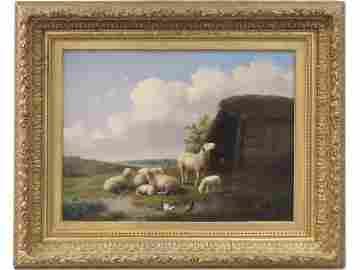 AUGUSTE COOMANS (BELGIAN 1855-1896) OIL ON CANVAS,