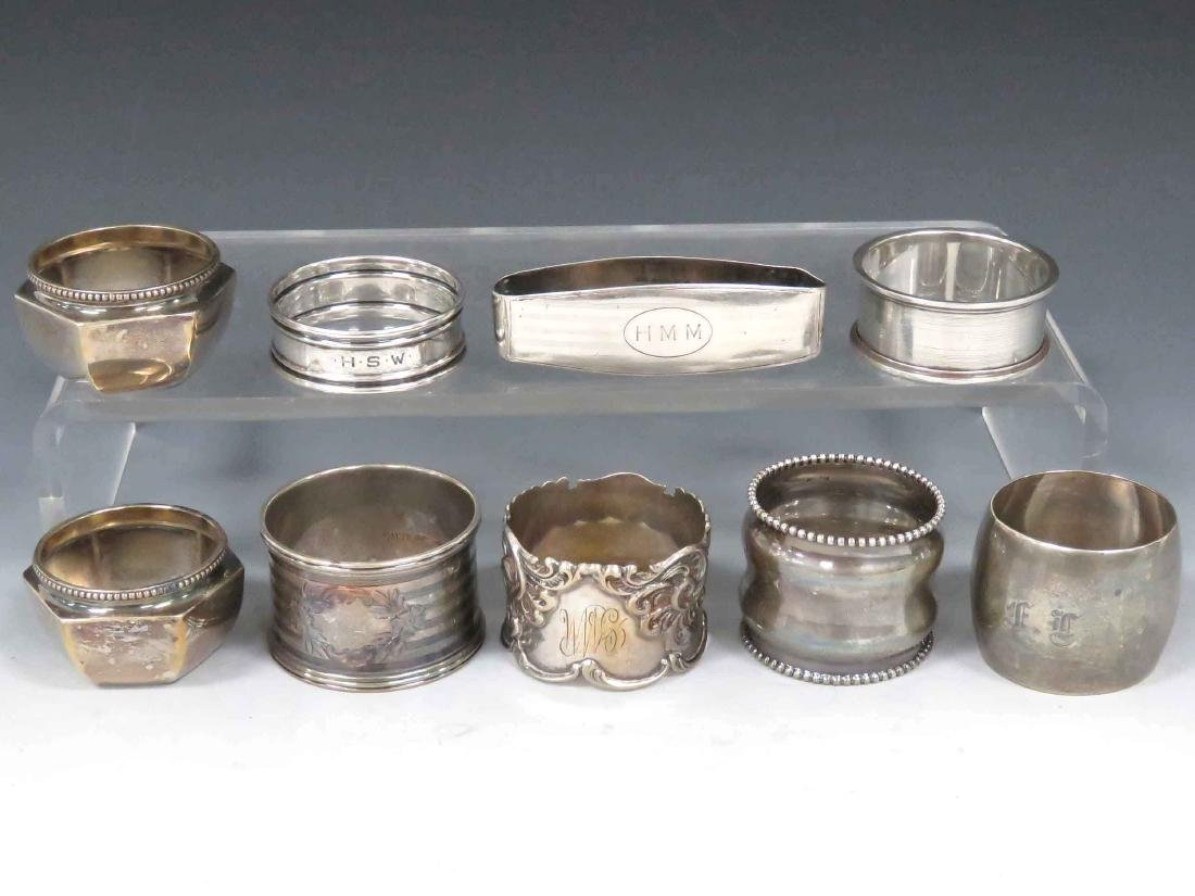 ASSORTED LOT STERLING INCLUDING (7) NAPKIN RINGS & (2)