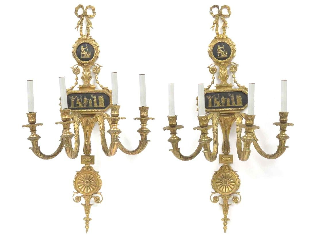PAIR FRENCH STYLE GILT BRASS 4-ARM WALL SCONCES. HEIGHT