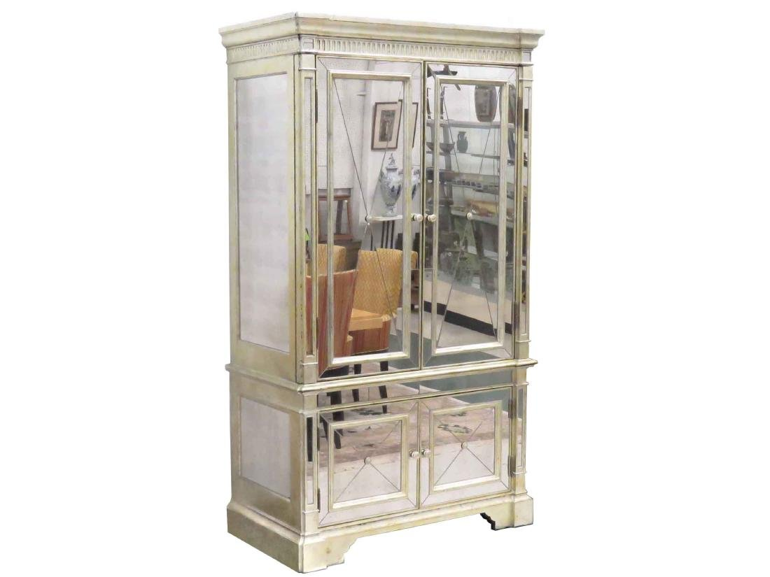 DESIGNER MODERN SILVER GILT/MIRROR MOUNTED CABINET ON