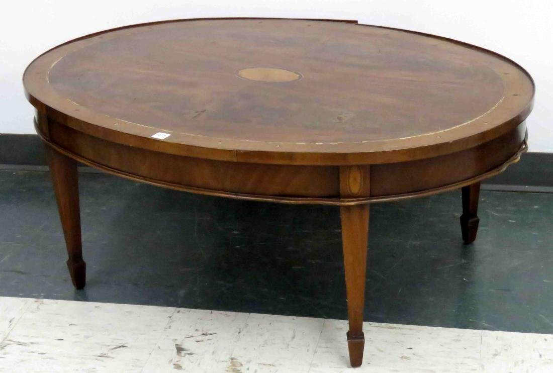 HEPPLEWHITE STYLE MAHOGANY CARVED & INLAID LOW TABLE,