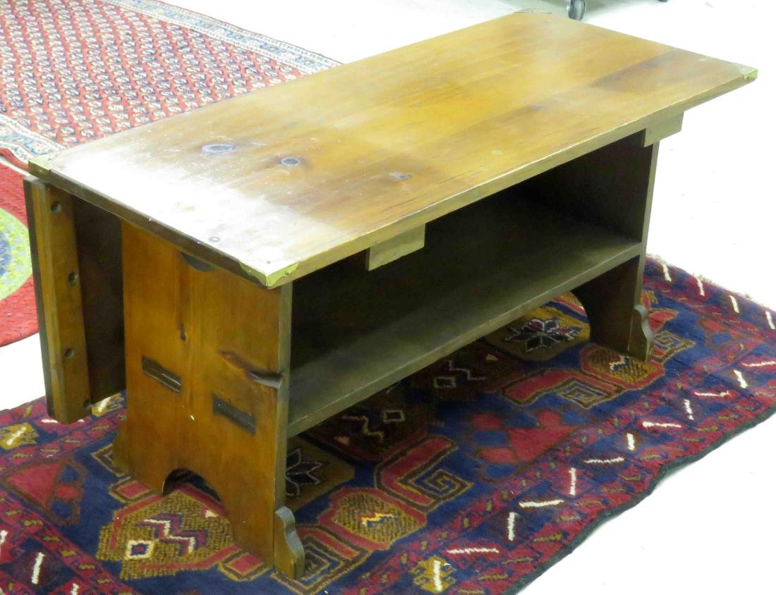 CRAFTSMAN PINE LOW TABLE WITH SINGLE DROP LEAF. HEIGHT