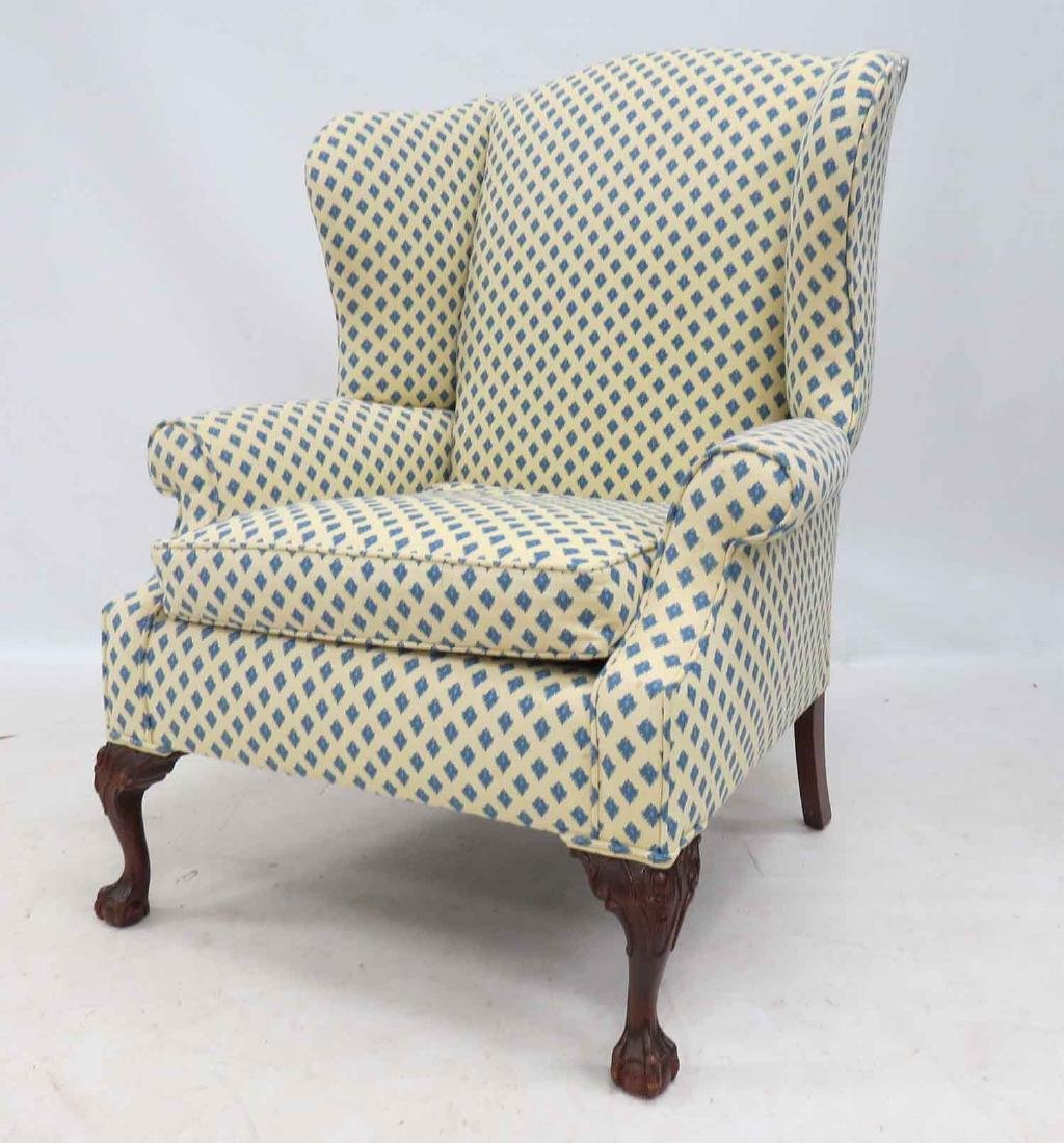 CHIPPENDALE STYLE WING-BACK ARMCHAIR, 20TH CENTURY