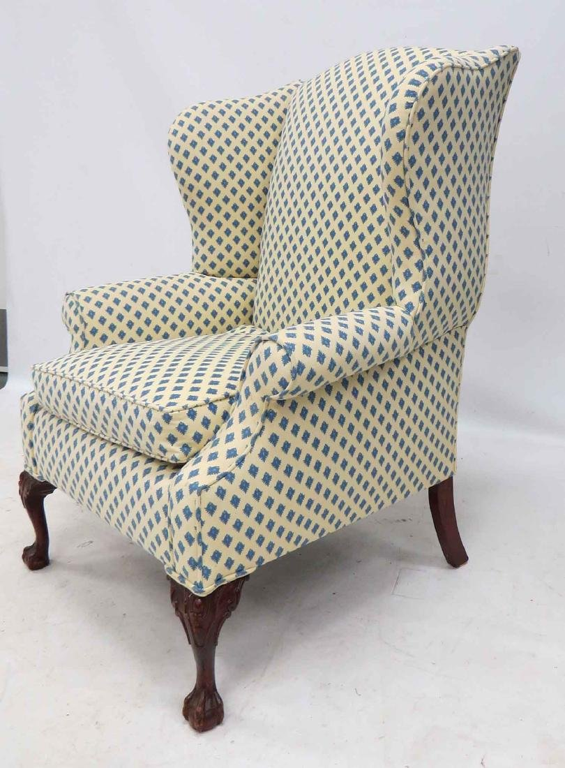 CHIPPENDALE STYLE WING-BACK ARMCHAIR, 20TH CENTURY - 2