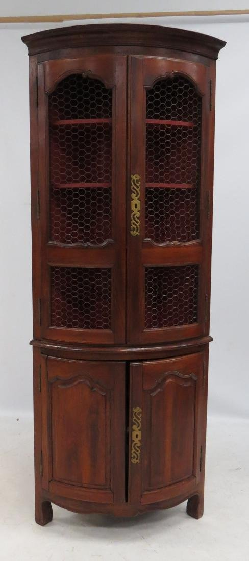 FRENCH PROVINCIAL CARVED FRUITWOOD CORNER CABINET WITH