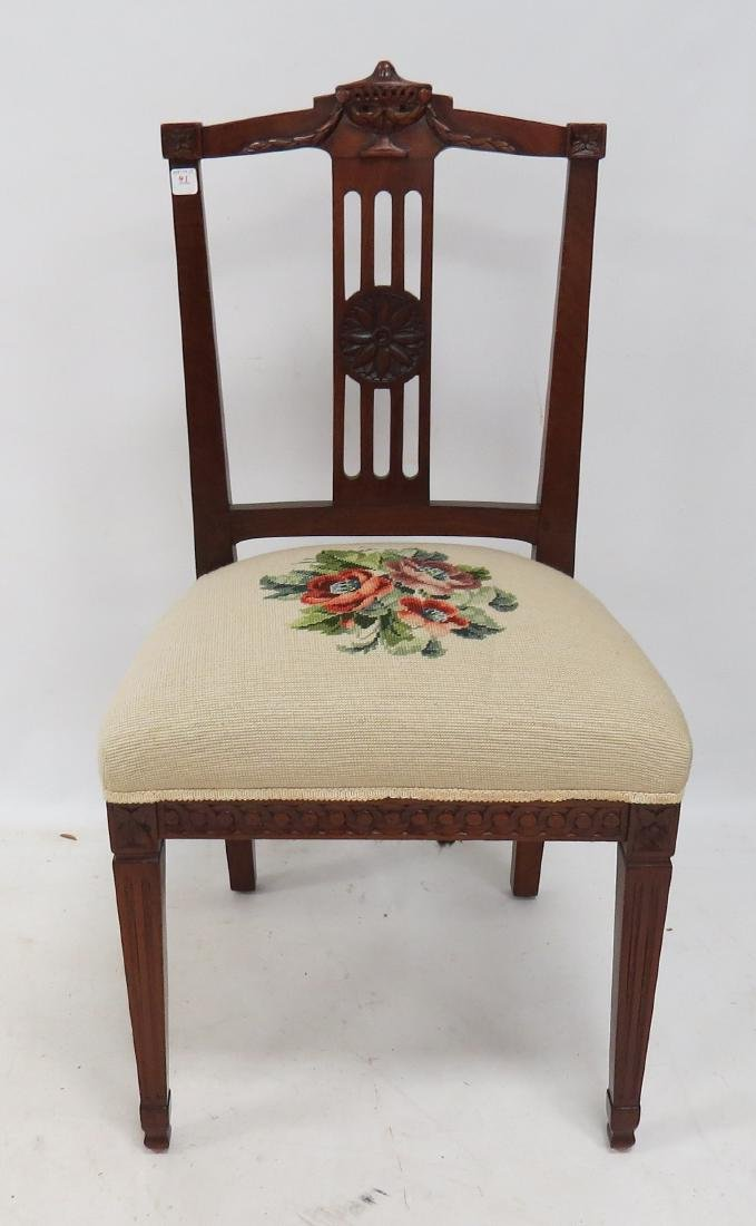 REGENCY CARVED MAHOGANY SIDE CHAIR, 19TH CENTURY
