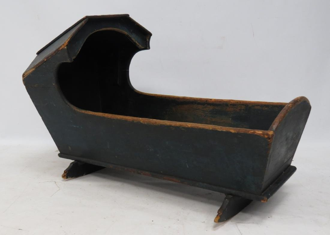 PENNSYLVANIA PAINTED PINE HOODED CRADLE, 19TH CENTURY.