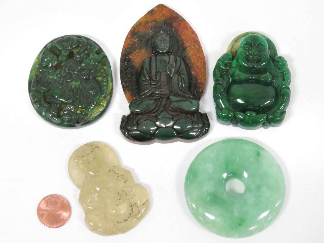 LOT (5) CHINESE CARVED HARDSTONE TOGGLES & PI