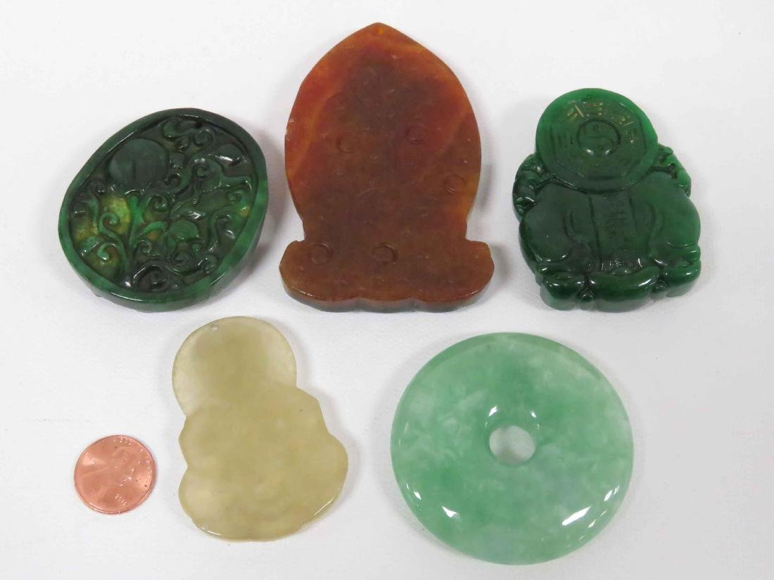 LOT (5) CHINESE CARVED HARDSTONE TOGGLES & PI - 2