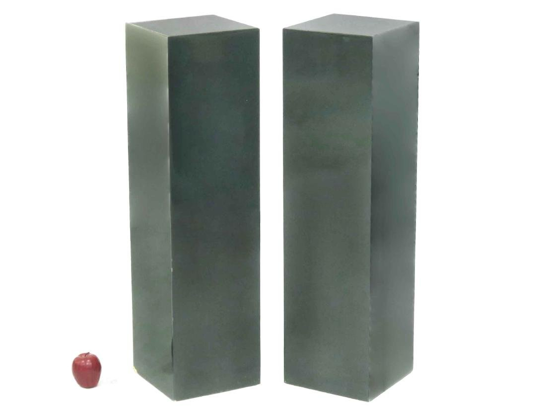 """PAIR FOREST GREEN LACQUERED PEDESTALS. HEIGHT 37""""; TOP"""
