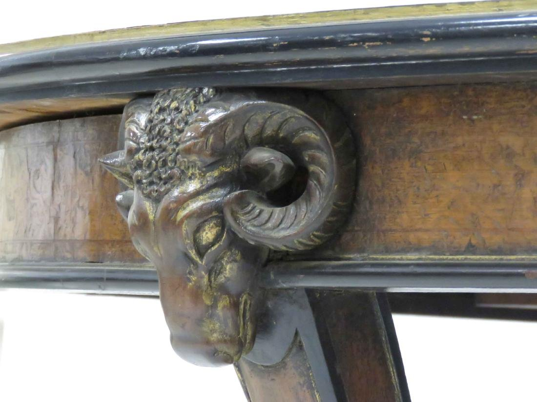 REGENCY CLASSICAL STYLE CARVED RAM'S HEAD INLAID WALNUT - 3