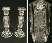366: PAIR WATERFORD STYLE CUT CRYSTAL CANDLESTICKS