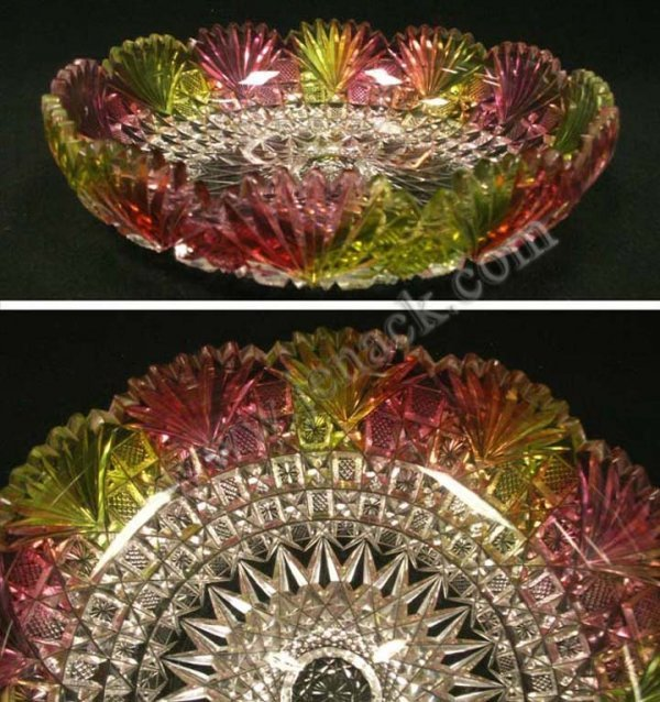420: UNUSUAL MULTI-COLOR CUT GLASS FLASHED BOWL