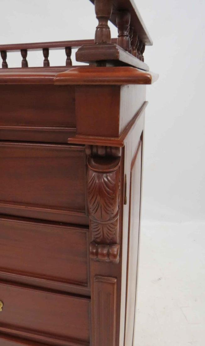 FRENCH STYLE CARVED MAHOGANY SIDE-LOCK CHEST OF - 3