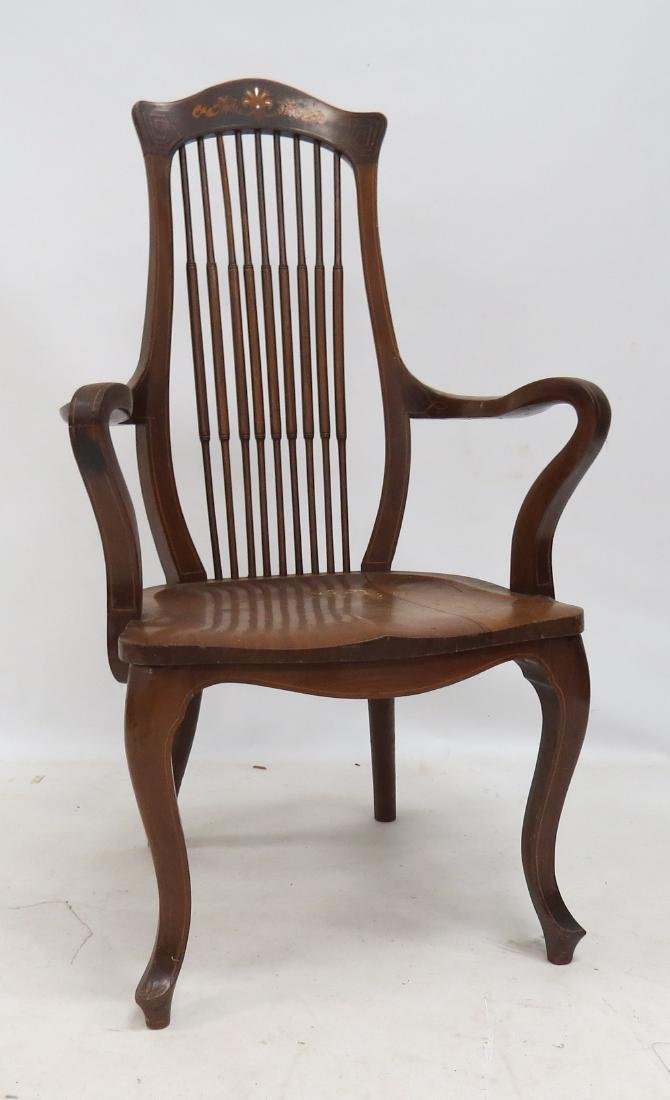 AESTHETIC CARVED/INLAID WALNUT ARMCHAIR, C.1910
