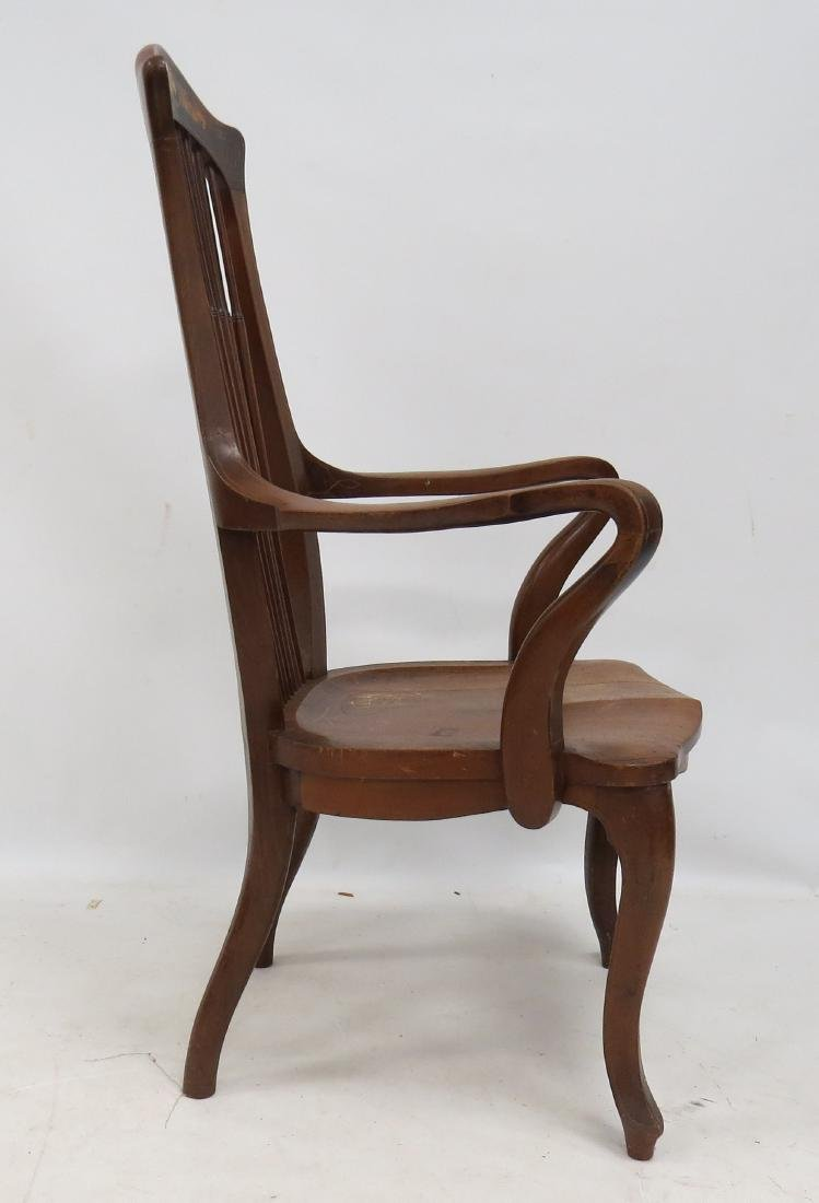 AESTHETIC CARVED/INLAID WALNUT ARMCHAIR, C.1910 - 2