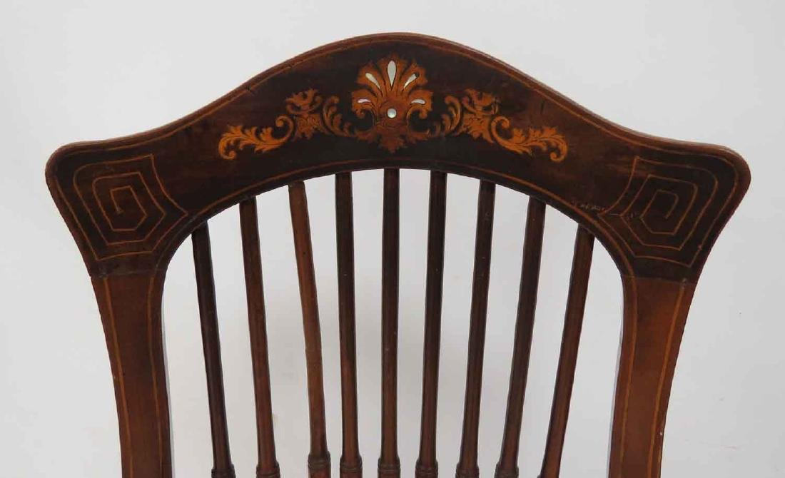 AESTHETIC CARVED/INLAID WALNUT ARMCHAIR, C.1910 - 3