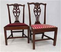 PAIR CHIPPENDALE CARVED MAHOGANY SIDE CHAIRS 1819TH