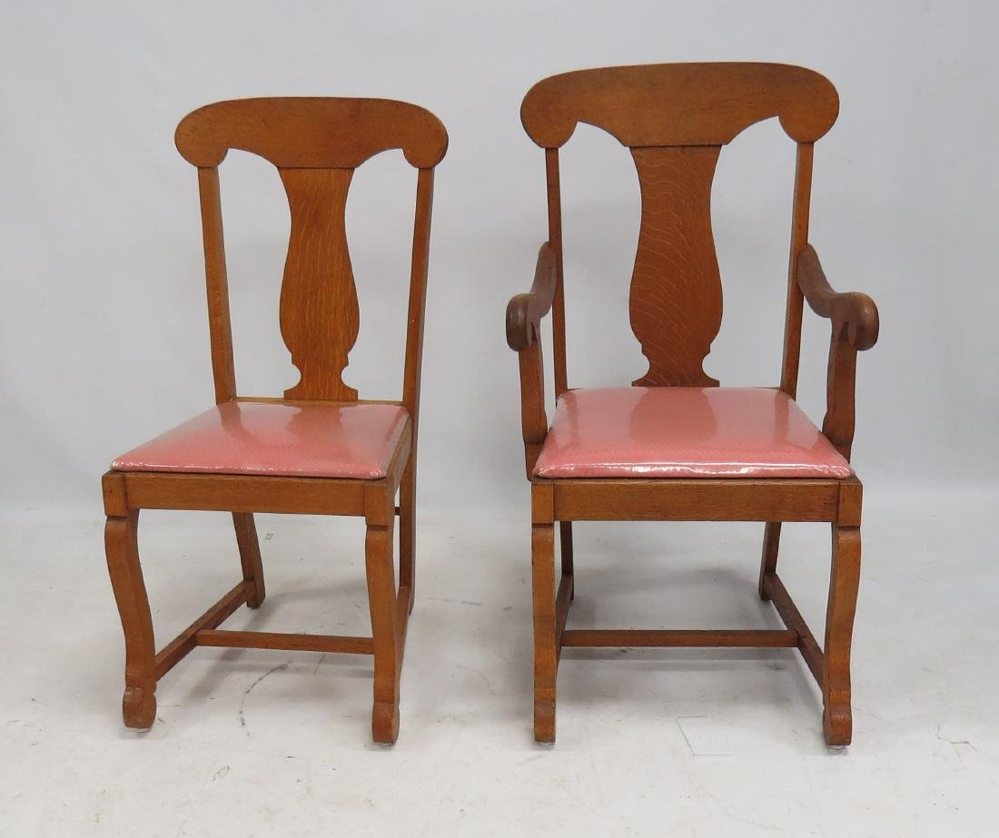 SET (8) CARVED OAK T-BACK DINING CHAIRS