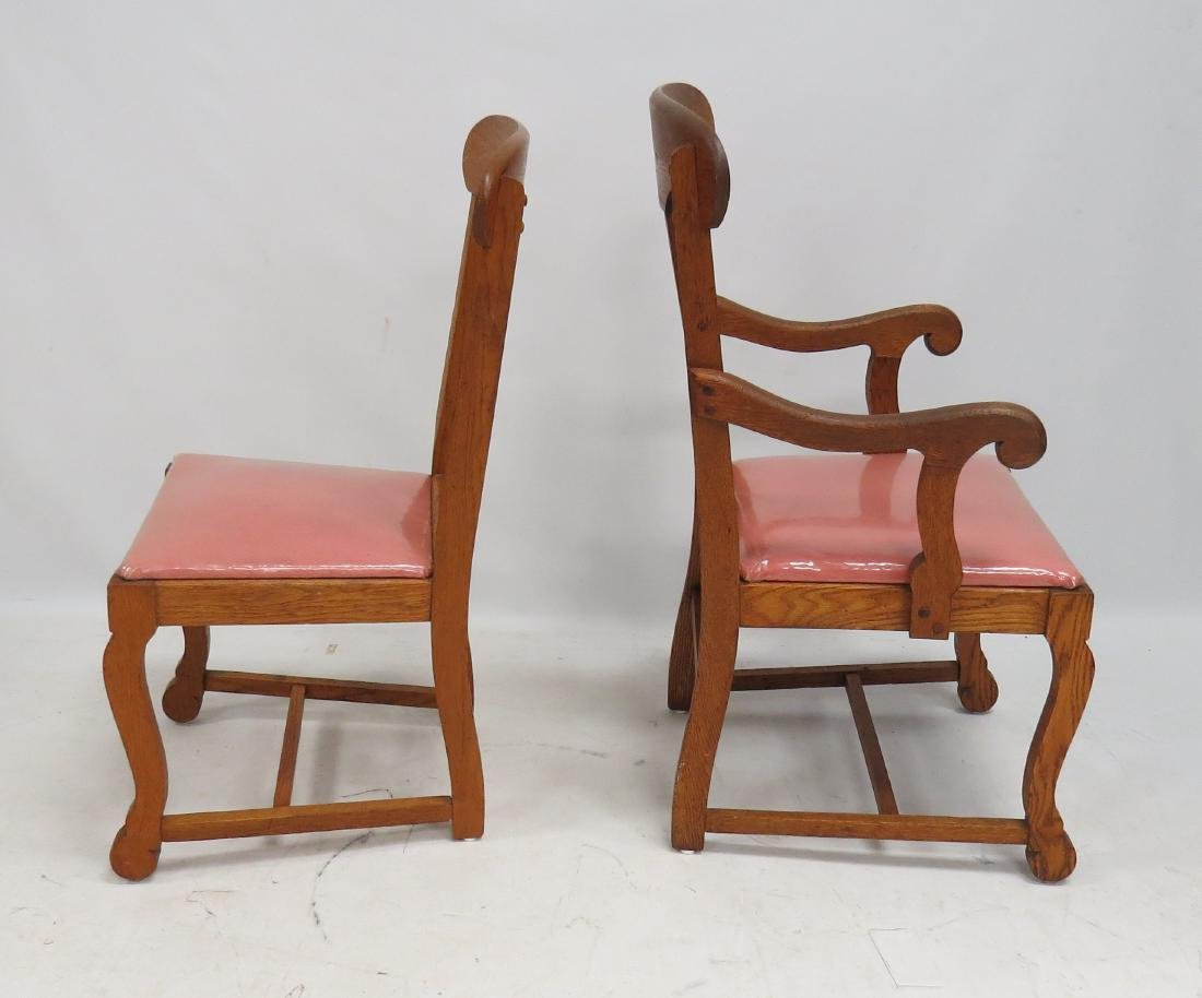 SET (8) CARVED OAK T-BACK DINING CHAIRS - 3