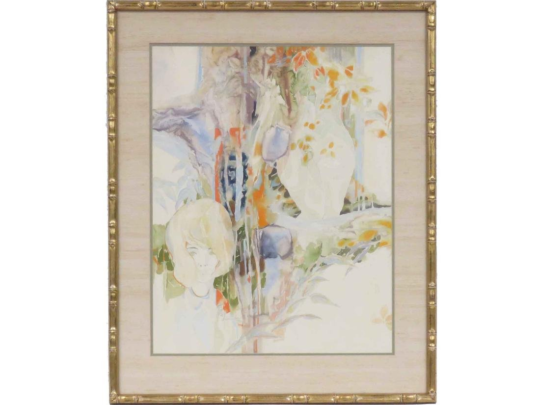 JAPANESE SCHOOL (20TH CENTURY) WATERCOLOR, FIGURE WITH