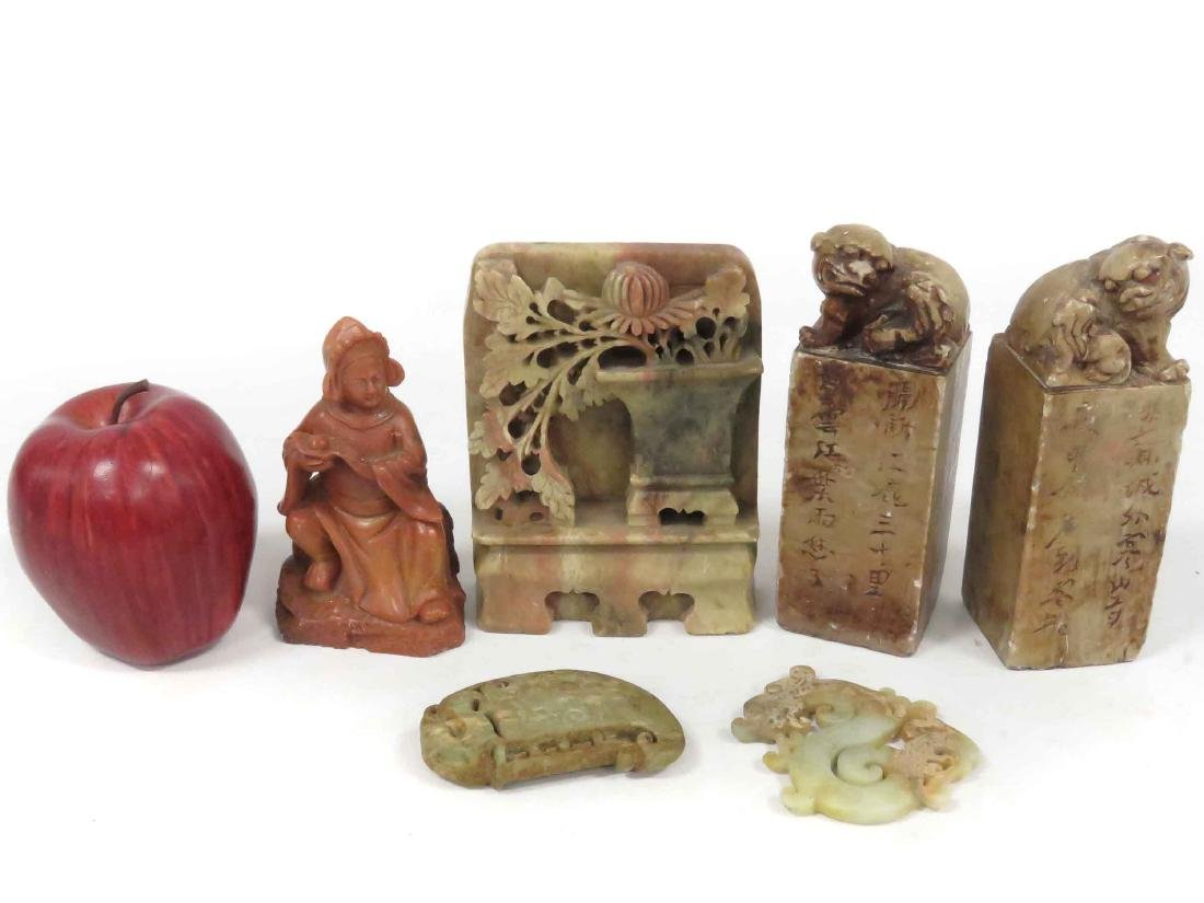 LOT (6) ASSORTED CHINESE STONE INCLUDING PAIR SOAPSTONE
