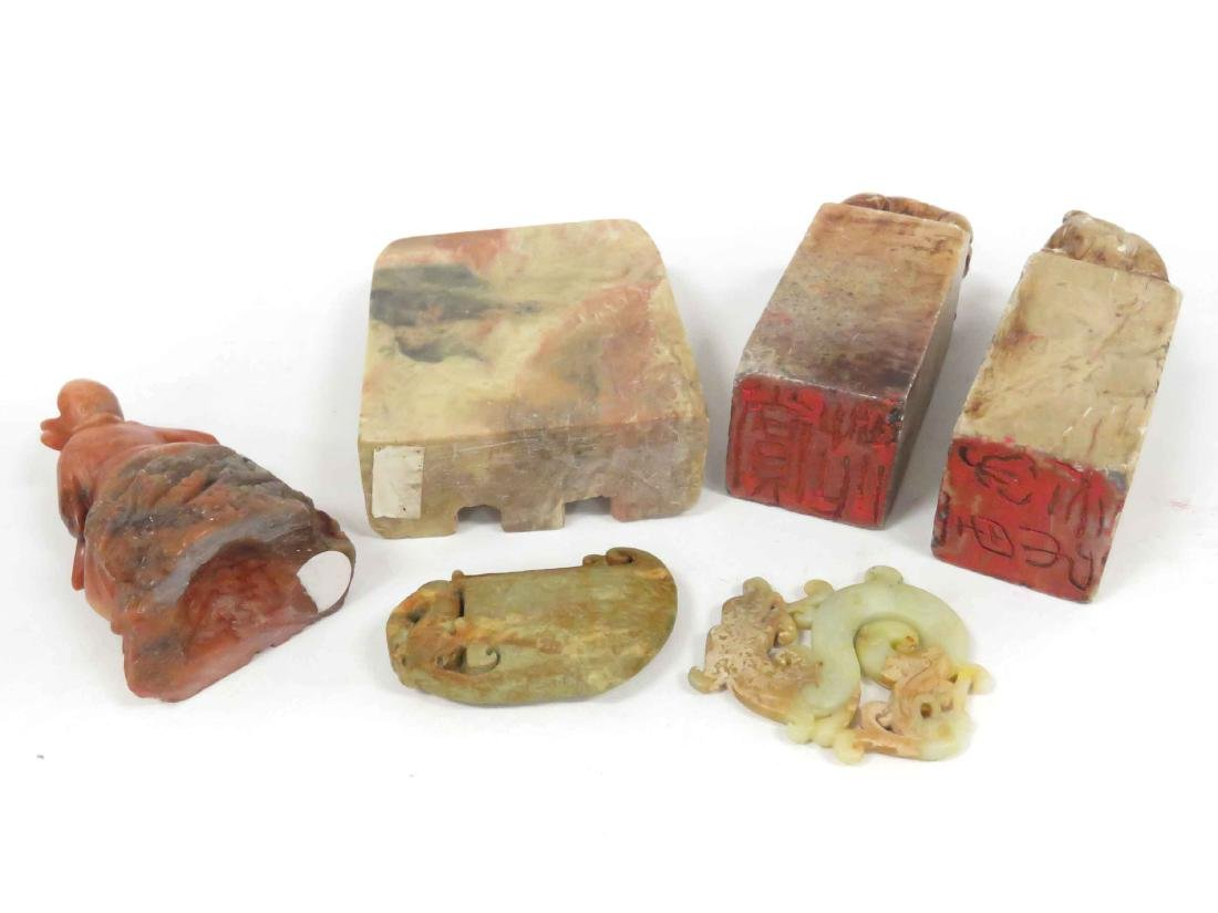 LOT (6) ASSORTED CHINESE STONE INCLUDING PAIR SOAPSTONE - 2