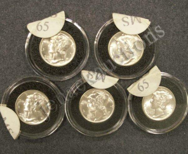 1003: LOT (5) 1937 MERCURY DIME COINS (MS-65)