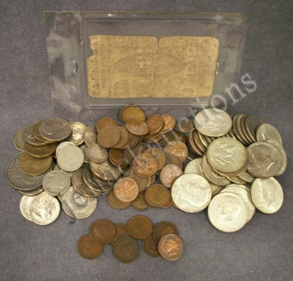 1011: LOT ASSORTED U.S. COINS & COLONIAL CURRENCY