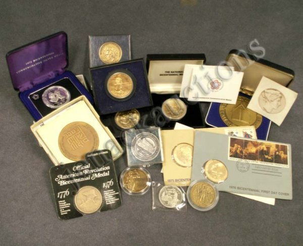 1013: LOT (14) INCLUDING SILVER/BRONZE/GOLD PLATED