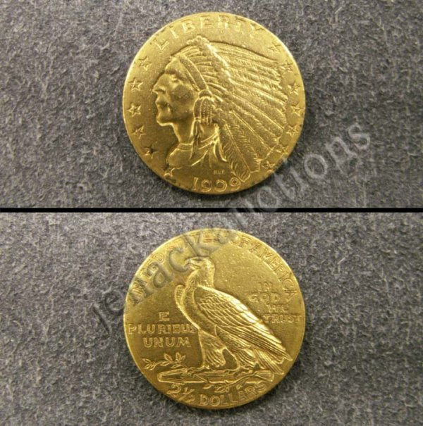 1014: 1909 INDIAN HEAD $2.50 GOLD COIN (XF-40)