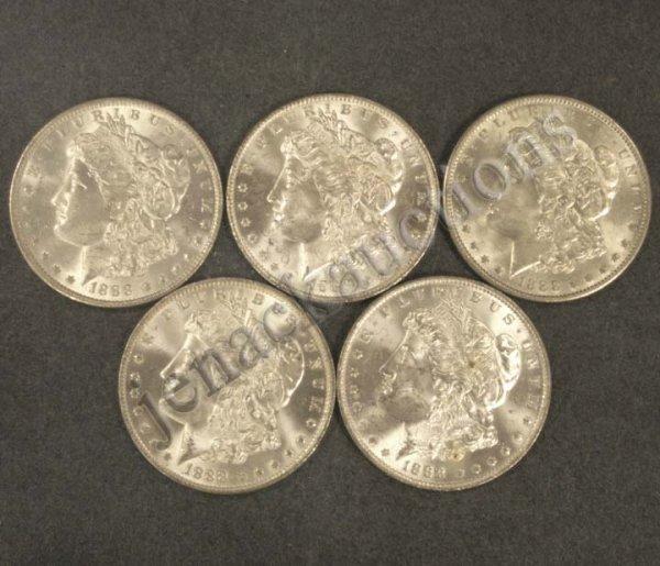 1015: LOT (5) 1888O MORGAN SILVER DOLLAR COINS (MS-63)